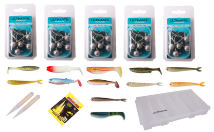 Soft Bait & Jighead Box with 55 soft baits and 20 jigheads!