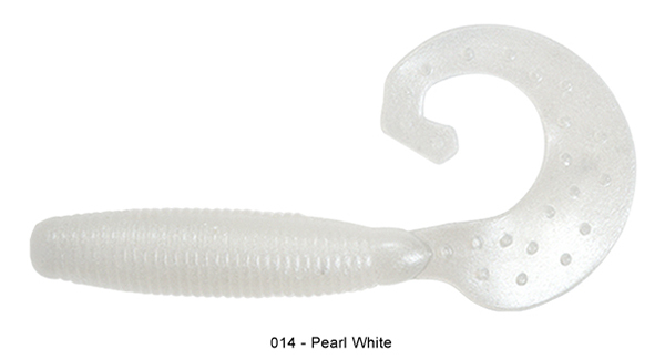 """Reins Fat G Tail Grub 4"""", 10 pcs (8 available colours) - 014 Pearl White:"""