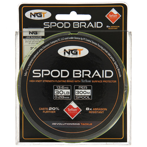 NGT Teflon Coated Floating Spod Braid 30 lb 300 m Fluo Yellow