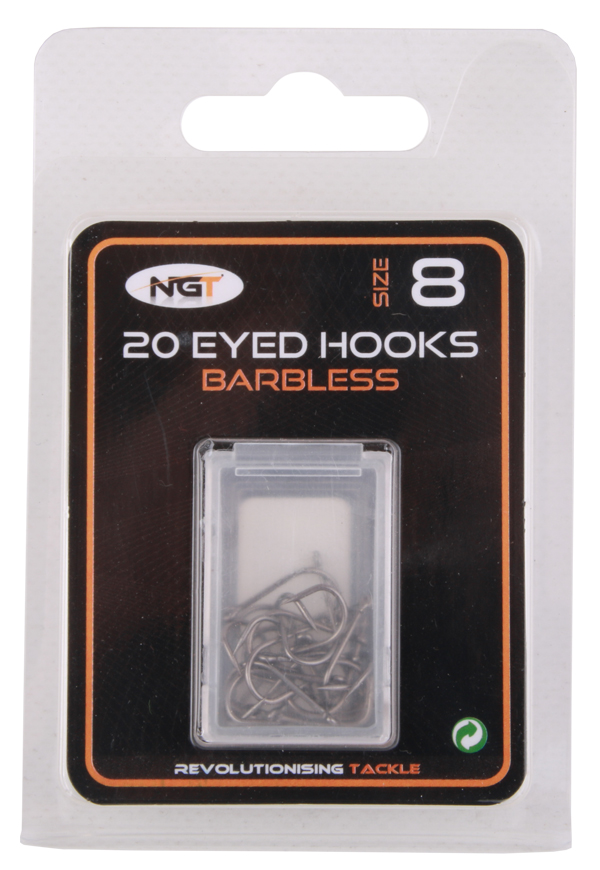 NGT Barbless Eyed Coarse Fishing Hooks (20 pcs)