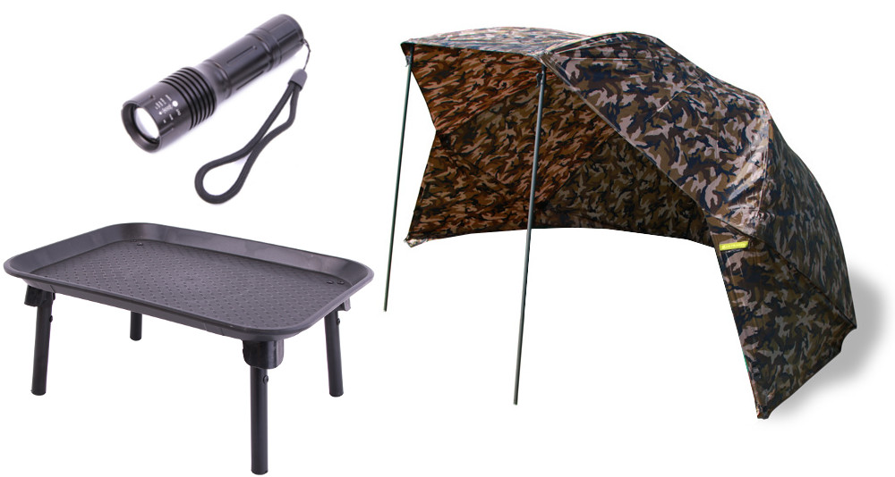 "Ultimate Camo Brolly 50"" + Bivvy Table + Torch"