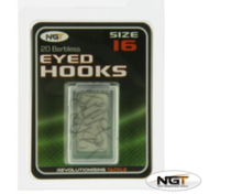 Image of NGT Barbless Eyed Coarse Fishing Hooks (20 pcs)