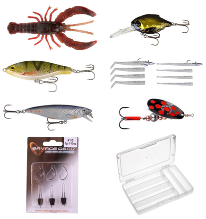 Savage Gear Pro Pack - Small Lures with hard baits, soft baits, crayfish imitations and a Panaro tackle box
