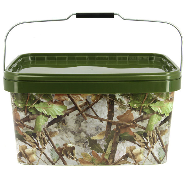 NGT Square Camo Bucket with metal handle, 12.5 L for boilies, particles and groundbait