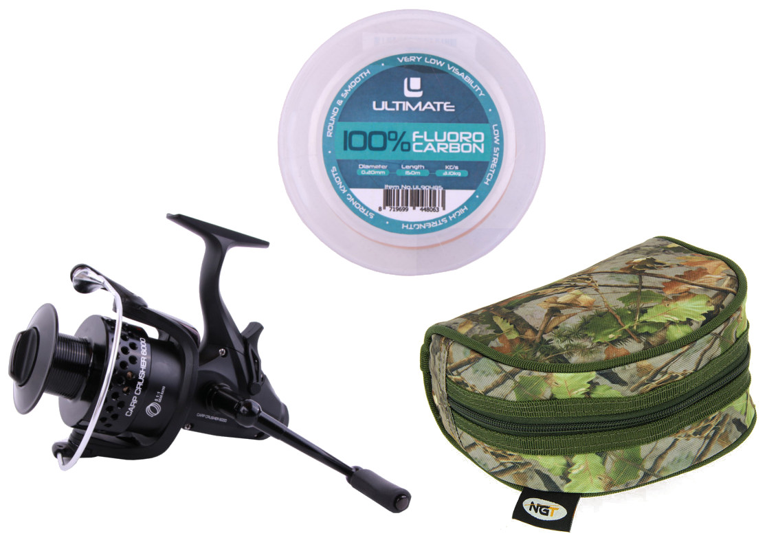 Ultimate Carp Crusher 6000 Freespool Reel + Fluorocarbon + Reel Case