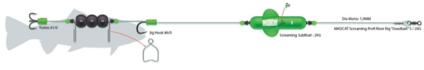Madcat Screaming Profi River Rig Deadbait (multiple options) - S - Hook size: #6/0 + #1/0 - Float 20 g