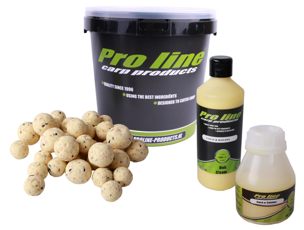 Pro Line Coco & Banana Deal with Boilies, Bait Steam, Boilie Dip and a Bucket!