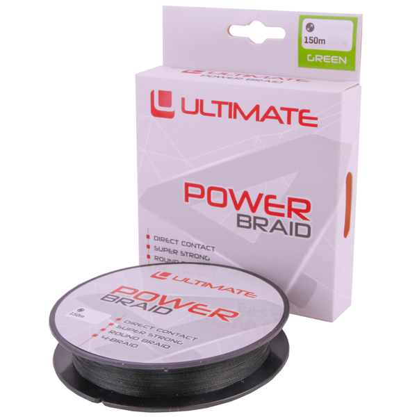 Ultimate Allround Spinning Set for fishing with artificial lures! - Ultimate Power Braid 150m Green braided line