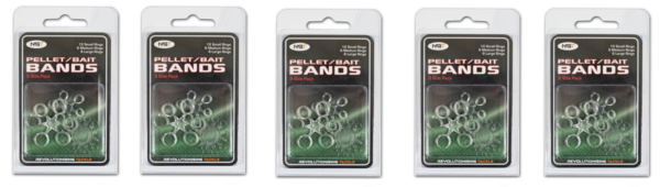 5 packs of NGT Bait Bands (3 sizes, 24 pcs per pack)